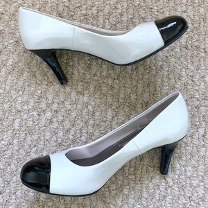 Black and White Heel Pumps